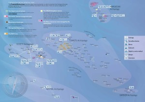 Map of services to boats in French Polynesia